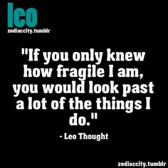 if you only knew how fragile I am, you would look past a lot of the things I do. - leo thought