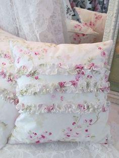 Shabby Chic Ruffle Pillow - Rachel Ashwell Pink Roses - Prairie Cottage $24
