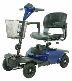 Drive Medical Bobcat 4 Wheel Compact Scooter, Blue by Drive Medical. $663.24. The Bobcat 4 wheel compact scooter in blue by Drive Medical is ideal for indoor and outdoor use and is lightweight and easy to operate. It has a 35.4 inches turning radius, with a top speed of 4 mph, and a cruising range of 7.5 miles. It comes in a convenient, compact 4 piece design allows for easy tool free assembly and disassembly. The comfortable, height adjustable seat comes with flip back adjustabl...