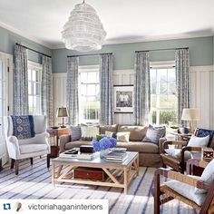 Lovely. Inspiration for Fishers Island.  My family room in Nantucket which appeared in @archdigest a few months back. Love the sofa and wing chair which are from my home collection.  Photo by Pieter Estersohn.