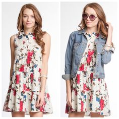 Ivory rose print dress Button down flower print dress Dresses Mini
