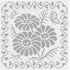 filet crochet ~ consider making a quilt like this, from one-inch squares :)