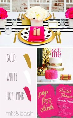 Bridal Shower Colors, Color Combos, Color Schemes, Wedding Parties, White Bridal, Shower Ideas, Hot Pink, Metallic, Girly
