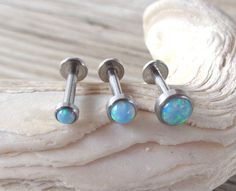 Read More About Fire Opal Labret,Helix,Cartilage,Tragus,Cartilage,Piercing,Stud Earring,Body Jewelry 16g-mm Light Blue,Internally Threaded