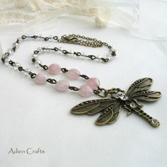 Vintage Style Dragonfly Gemstone Necklace