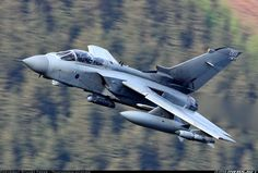 RAF: Panavia Tornado GR4 ZA606 (cn 136/BS043/3070) Unmarked Tornado from RAF Marham caught powering through the Welsh hills in the last throws of sunlight.