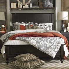 Panel Bed. Love the bedding!