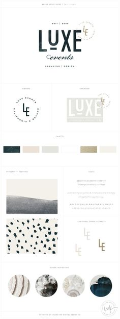 Luxe Events Brand launch - Design by Salted Ink | Brand Board | www.saltedink.com | Brand Stylist