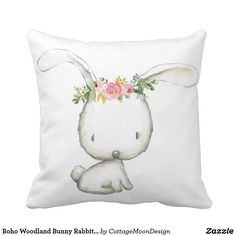 Boho Woodland Bunny Rabbit Baby Nursery Pillow