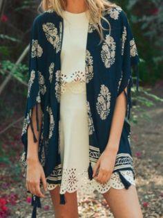 come and go tassel kimono navy | sassy shortcake