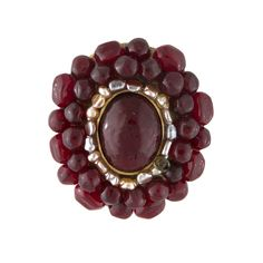 CHANEL SIGNED GARNET GRIPOIX AND PEARL BROOCH/PiN, 1940s