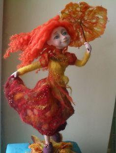 """Купить Авторская кукла """"Танец листопада"""" - рыжий, авторская кукла, осень, танец, листопад"""