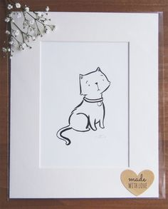 original brush pen illustration cat by LittleCupCreations on Etsy