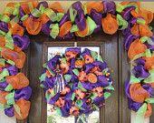 purple witchs hat halloween wreath halloween deco meshhalloween garlandfall - Deco Mesh Halloween Garland