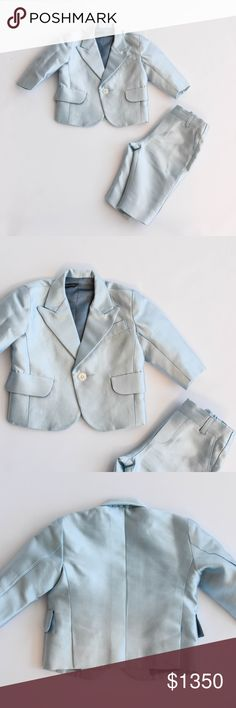 """Custom Sateen Light Blue Infant Suit Sateen light blue custom infant suit designed for baby Asahd by Terrell Jones and 5001 Flavors. One button closure and front illusion pockets on jacket. 10"""" waist, approx. 12"""" length, and approx 9"""" shoulder measurements on jacket. Pants have back elastic waist band and two front pockets. Approx. 8"""" waist (unstretched) and 13"""" length on pants. Custom Matching Sets"""