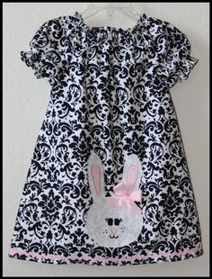 Items similar to Custom Damask Easter Bunny Peasant Tunic Style applique dress 12m-5t on Etsy