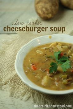 a healthier version of everyone's favorite crockpot cheeseburger soup recipe-- this one doesn't call for processed ingredients or canned soups!