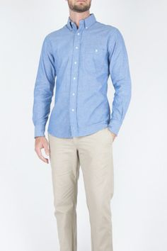 DAPPER DUDS: Blue Chambray Button Down Shirt designed by Lyonstate