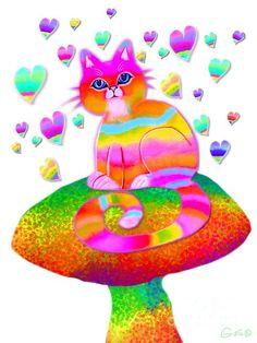 A colorful rainbow cat on a rainbow mushroom with hearts