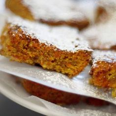 Full of carrots, coconuts, nuts and spices, these plant-based blondies will please everyone.