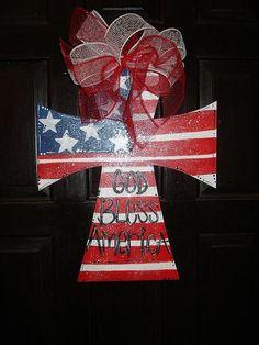 Wooden Monogram Door Hanger | Patriotic Wood Cross door hanger porch decor God by merrymerchant, $24 ...