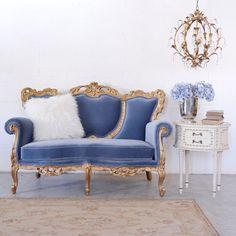 Romantic Ocean Velvet Petite Sofa $1895.00