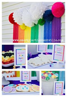 This party is a combination of My Little Pony and Rainbows. I love the use of colors but again I am left wondering how you would style this party with real amounts of food. My Little Pony Party. Rainbow Dash Party, Rainbow Unicorn Party, Rainbow Birthday Party, 4th Birthday Parties, Birthday Ideas, Rainbow Candy, Rainbow Butterfly, Butterfly Party, Fourth Birthday