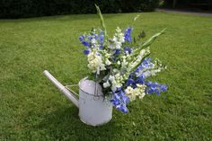 Venue Decoration - vintage watering can full of Delphiniums, Gladioli and Antirrhinums.  #Wedding #Flowers #WateringCan #Decorations