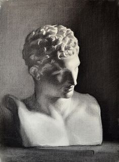 Charcoal on Roma paper Cast Drawing. Hermes of Praxiteles.