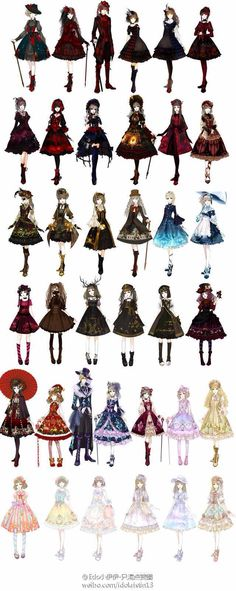 So many beautiful subkinds of Lolita! I am a sweet Lolita 💕 Estilo Lolita, Mode Steampunk, Steampunk Skirt, Gothic Steampunk, Steampunk Clothing, Kleidung Design, Lolita Mode, Lolita Style, Drawing Tutorials
