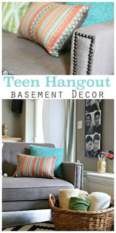 Finished Basement Ideas | Teen Hangout | Inexpensive Fold out Sofa Ideas | See more on TodaysCreativeLife.com