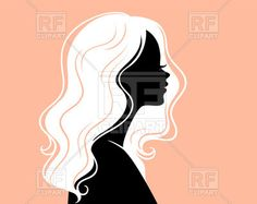 Silhouette of woman in profile with beautiful white hair, 59606, download royalty-free vector clipart (EPS)