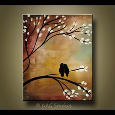 Large Commission Original oil Painting -Violet, Purple, mint cherry tree-and… #OilPaintingBirds
