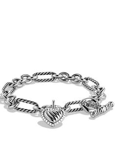 Cable Heart Charm Bracelet with Diamonds