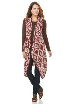 89078032a8d60 Cato Fashions Geo-Tribal Waterfall Vest-Plus  CatoFashions Plus Size  Sweaters