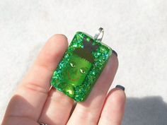 Frankenstein Candy Spooky Cute glitter rectangle pendant Green halloween pendant fun pendant kawaii frankensteins monster green glitter nerd