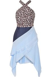 Antonio BerardiAsymmetric poplin-paneled brocade and georgette halterneck dress