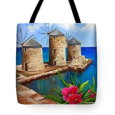 Art Tote Bag Greece Chios sea view art tote bag double side image tote bag unique market office tote tote art bag seascape tote beach bag by Viktoriyasshop on Etsy