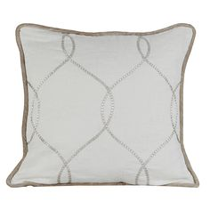 Embroidered 100% Luxury Linen fabric by the bolt, pillows, ready-made curtains or custom drapery panels.  Shown in Ivory color with silver gray embroidery in geometric wave pattern for soft, modern window treatments