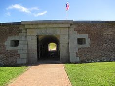 Fort Moultrie, Sullivan's Island, South Carolina was built by South Carolina patriots to protect Charleston Harbor.  On June 28, 1776, British warships attacked the fort.  William Moultrie, commander of the 2nd South Carolina Regiment, and his 400 men fought a day-long battle which ended with the heavily damaged British warships being driven from the area.  Today, the fort has been restored to reflect the story of American sea coast defense through World War II.   A visitor center is nearby.