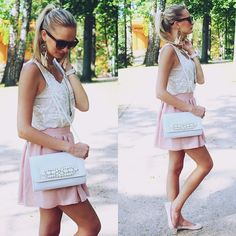 Chicnova White Lace See Through Blouse, Ebay Blush Pink Skirt, Ebay White Silicone Watch, H&M White Clutch Bag, Ebay Watch Necklace