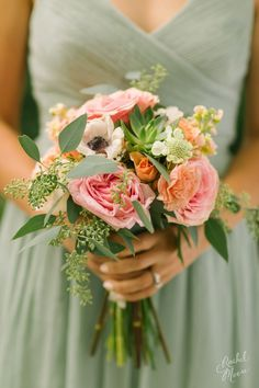 Such a beautiful color combination   #cedarwoodweddings WEDDING PARTY   Summer Stunner Tennessee Wedding at Cedarwood | Cedarwood Weddings so pretty - I like the greenery and color combo