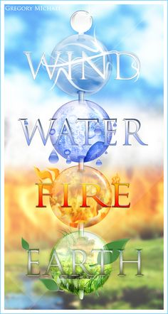 "The Four Elements: - Water - Earth - Air - Fire Symbols from the Nickelodeon series ""Avatar - the last airbender"" Classical Elements, Elements Of Nature, Elements Of Art, Elemental Magic, Elemental Powers, Earth Wind & Fire, Element Symbols, Air Fire, Fifth Element"