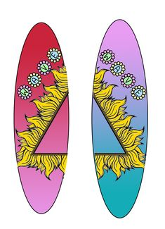 9th personal wave surfboard designs, using online vectors