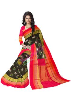 ikat jari petu black  color saree
