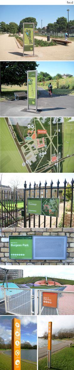 Destination branding & wayfinding provision for Burgess Park by fwdesign. #wayfinding #map #infographics #signage www.fwdesign.com