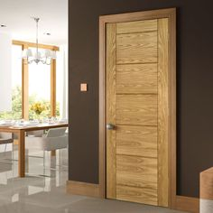 Seville Oak Panel Door, 1/2 Hour Fire Rated, Prefinished. #moderndoor #oakdoor #prefinisheddoor