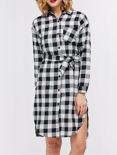 Casual Plaid Mini Shirt Dress #shoes, #jewelry, #women, #men, #hats