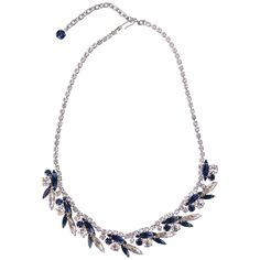 1950s Sparkling Marquise Vintage Necklace from LuluandBelle - Vintage Jewellery #1950snecklace #sapphirenecklace #midcenturynecklace #sparklingnecklace #sapphireblue #rhinestonenecklace #luluandbelle