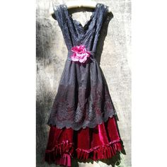 Black lace dress red velvet silk party ruffles goth halloween boho... ❤ liked on Polyvore